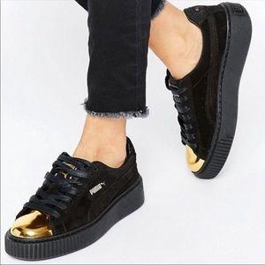 Puma Suede Platform Gold Toe Sneaker